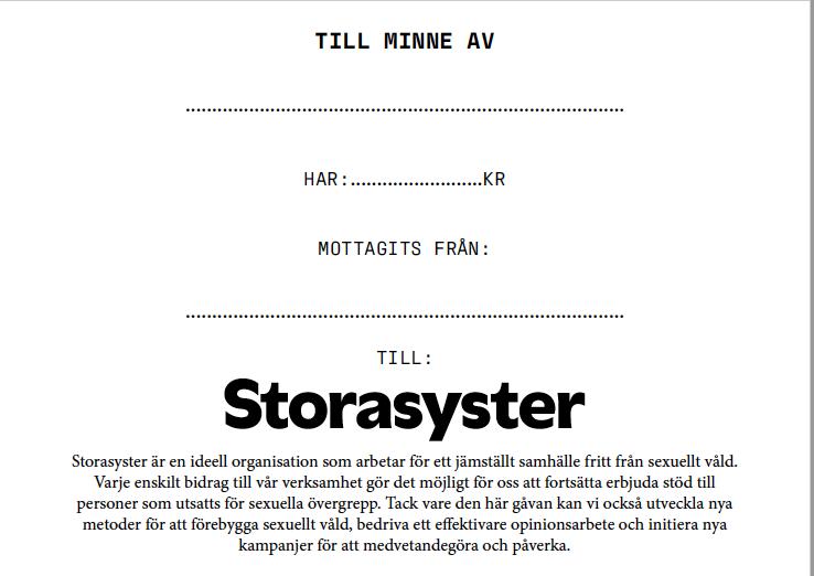 Minnesblad Storasyster 2