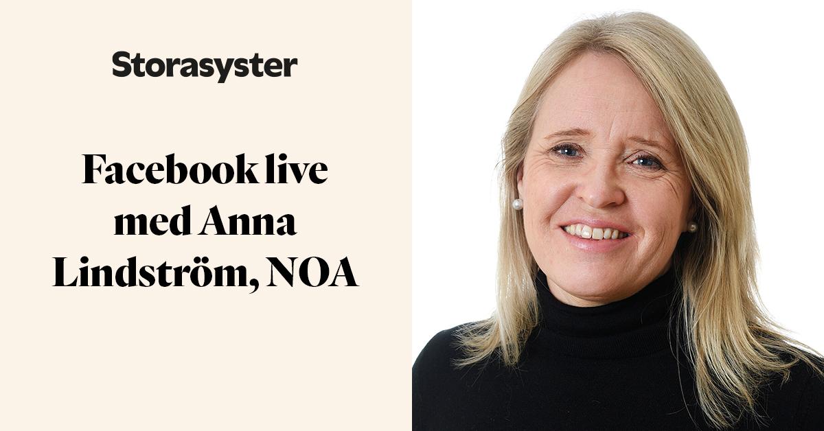 Porträttbild Anna Lindström och texten Facebook live med Anna Lindström, NOA
